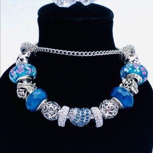 Pandora Blue Swirl Pave Charm Bracelet